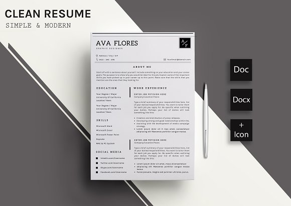 clear resume cv template 11 resume templates creative market