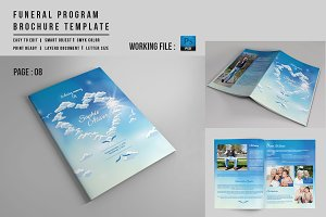 8 Page Funeral Booklet Template-V527