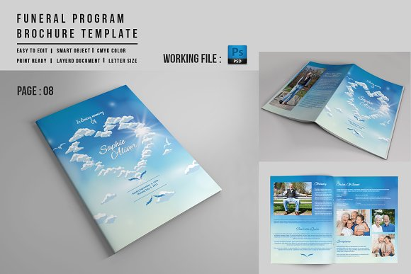 8 Page Funeral Booklet Template V527 Brochure Templates Creative