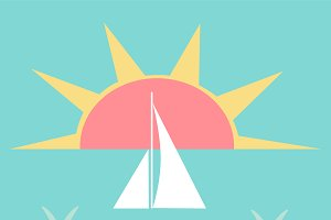 Summer background with yacht