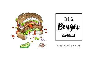 Big Burger Doodle set