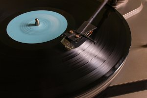 vinyl record with a blue mark