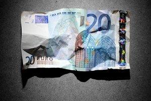 Crumpled 20 euro banknote