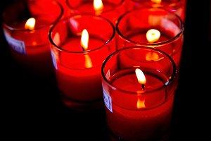 Burning candles light