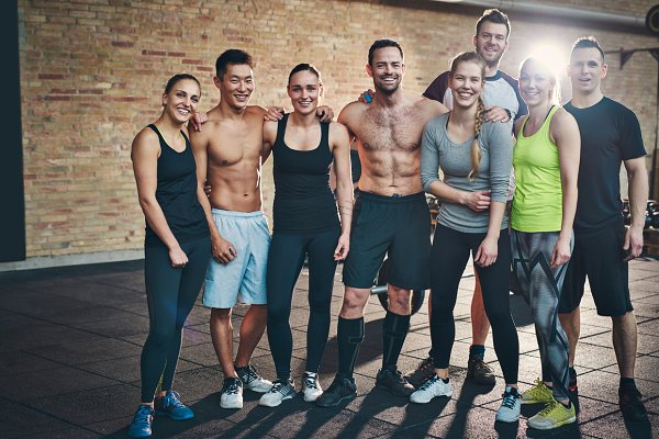 Group of eight athletic young adult…