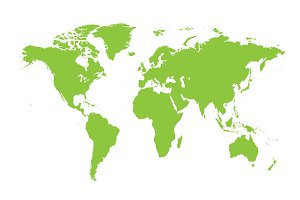 World map flat green
