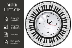 Realistic Office Clock and Piano key