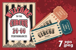 Circus retro posters tickets