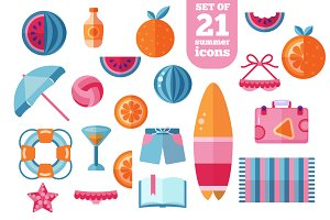Trendy Summer Beach Flat Icons Set