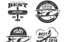 Retro airplane logo set