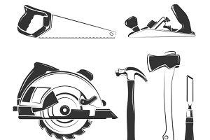 Carpenter tools silhouettes