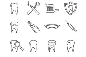 Teeth, dentistry medical line icons