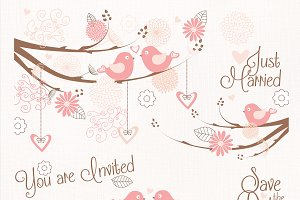 Wedding birds clipart flower