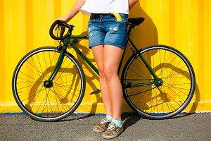 girl and a sports bike