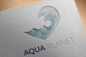 Aqua logo template with waves