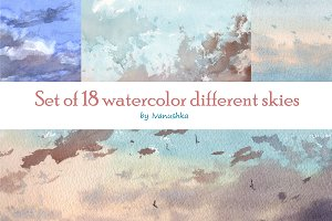 Watercolor set of skies