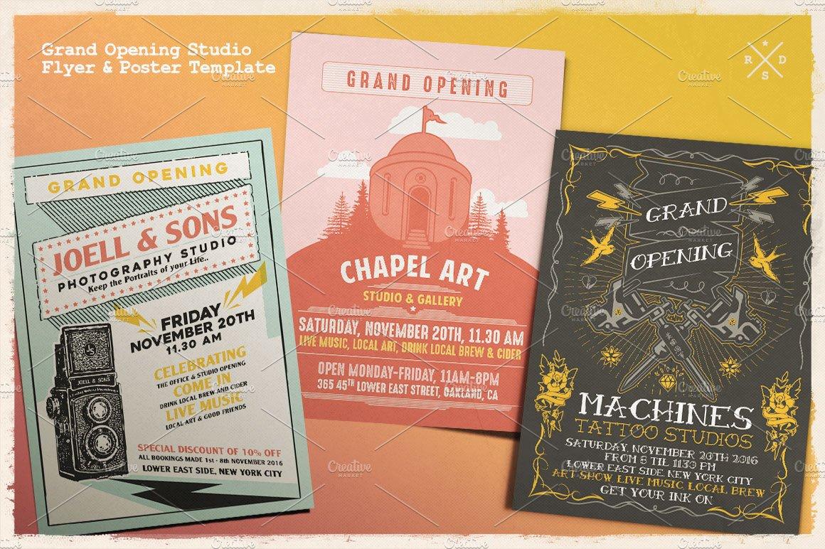 Grand Opening Studio Flyer Poster Flyer Templates Creative Market