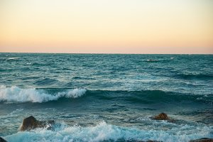 Beautiful sunset above sea