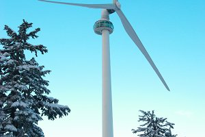 Wind turbine on the mountain