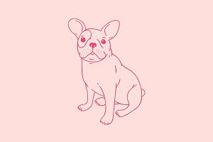 French bulldog puppy illustration