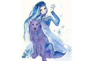 Girl with wolf watercolor