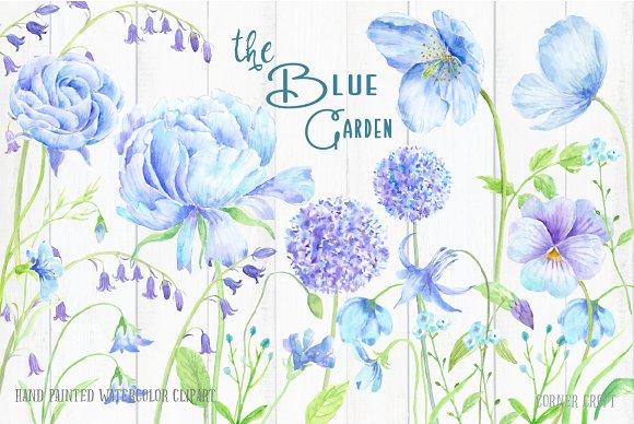 Watercolor Clip Art Blue Garden - Illustrations