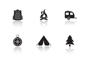 Campground equipment icons. Vector