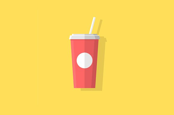 Paper cup with soda or juice