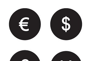 Currency symbols icons. Vector