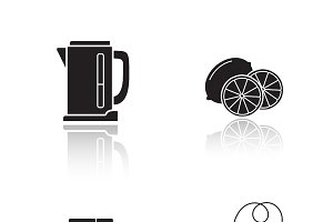 Tea equipment icons. Vector