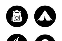 Camping black icons set. Vector