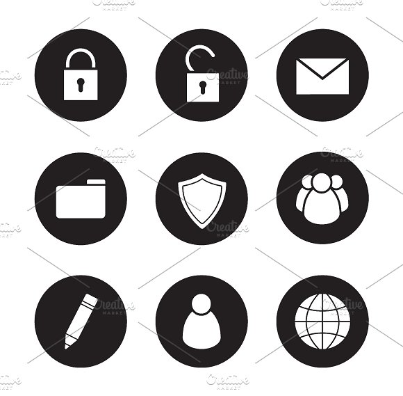 File manager black icons set. Vector - Icons