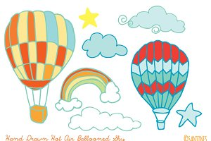 Hand Drawn Hot Air Balloons