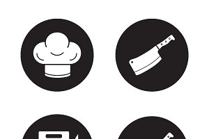 Chef cooking tools icons. Vector