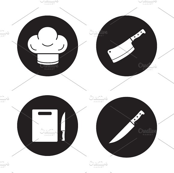 Chef cooking tools icons. Vector - Icons