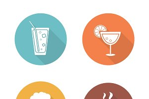 Drinks flat design icons set. Vector