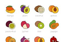 Fruits color icons set. Vector