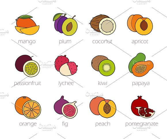Fruits color icons set. Vector - Icons
