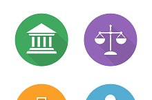 Law flat design icons set. Vector