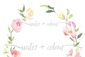Downloadable watercolor floral wreat