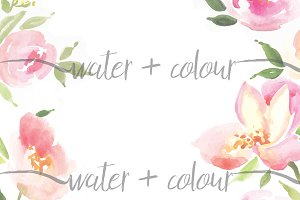 Downloadable watercolor floral borde
