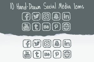 Hand-Drawn Vector Social Media Icons