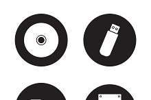Data storage devices icons. Vector