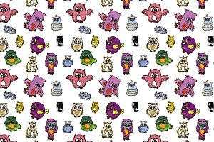 Seamless pattern set of owl