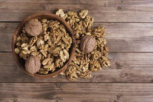 walnuts in wooden bowl