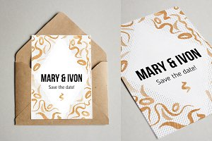 Golden Wedding Watercolor Invitation