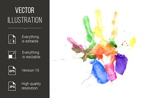 Handprint in vibrant colors
