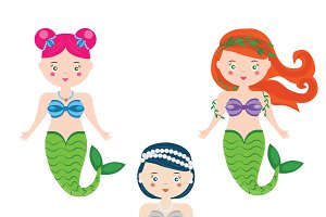 Three cartoon mermaids. vector