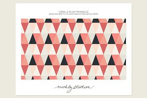 Coral & Plum Triangle web tiles & di