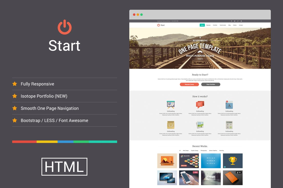 Start - Responsive One Page Template ~ Website Templates ~ Creative ...